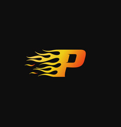 letter p burning flame logo design template vector image
