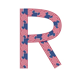 Letter R made of USA flags vector