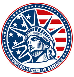 Liberty statue head independence day usa flag vector