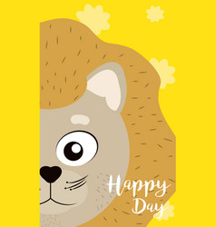 Lion cute animal cartoon card vector