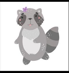 little cute raccoon kawaii flat style vector image