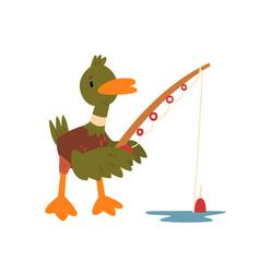 male mallard duck fishing with fishing rod cute vector image