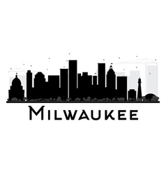 Milwaukee City skyline black and white silhouette vector