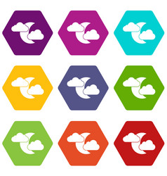 moon and clouds icon set color hexahedron vector image