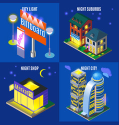 night city isometric design concept vector image