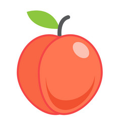 Peach flat icon fruit and diet graphic vector