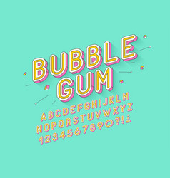 Retro bubble gum bold font design alphabet vector