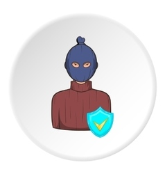 Robber and sign security icon cartoon style vector