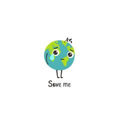 Sad planet earth vector