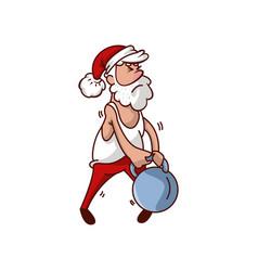 santa claus trying to lifting heavy kettlebell vector image