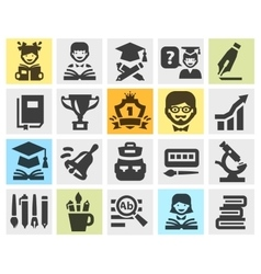 school college education set black icons signs vector image