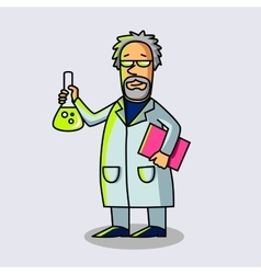Scientist at work with flask cartoon character vector