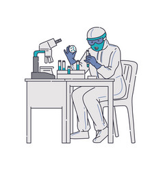 scientist microbiologist in antiviral costume vector image