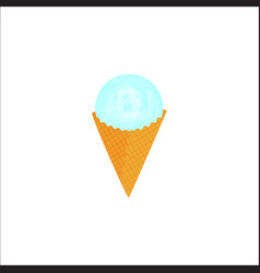 scoop of ice cream in a waffle cone vector image