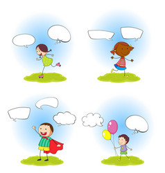 set children with speeach balloon vector image