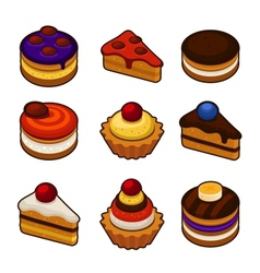Set of cupcakes icons vector image