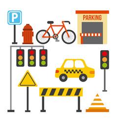 set of traffic transport sign taxi barrier light vector image