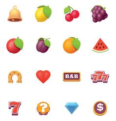 Slots symbols icon set vector