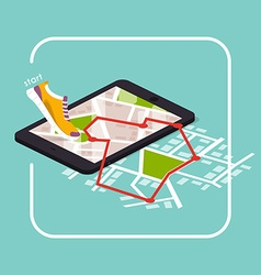 Smartphones app with track displayed with route vector image
