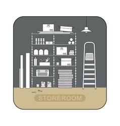 Storeroom interior with metal storage vector image