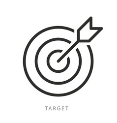 target with arrow icon editable stroke vector image