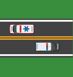 top view driving ambulance and police autos vector image