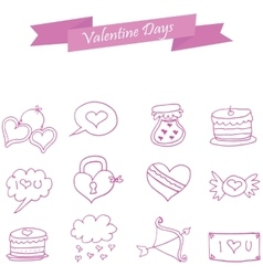 Valentine icons element style collection vector image