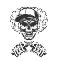 vintage hipster skull in smoke cloud vector image