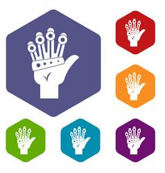 Vr manipulator icons set hexagon vector