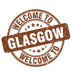 Welcome to glasgow brown round vintage stamp vector