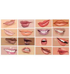 woman lips set with lipstick makeup vector image