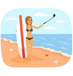woman with surfboard is making selfie girl vector image