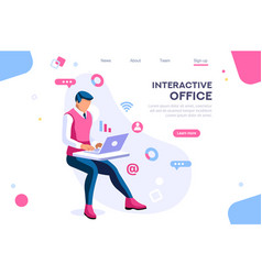 Workspace situation office set vector