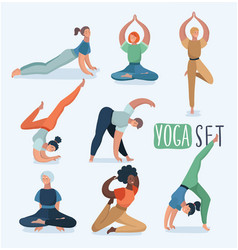 yoga set with women in different poses vector image