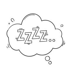 Zzz sleep symbol con with handdrawn doodle style vector