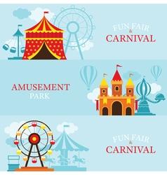 Amusement Park Carnival Fun Fair Banner vector image
