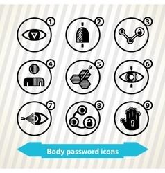 Body password icons vector image