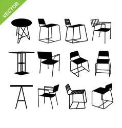Chair and table silhouettes vector image vector image