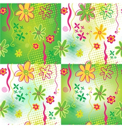 Four Floral backgrounds vector image vector image