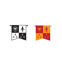 medieval kingdom emblem flag icons vector image