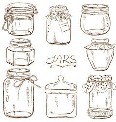 Set of isolated mason jars vector image vector image