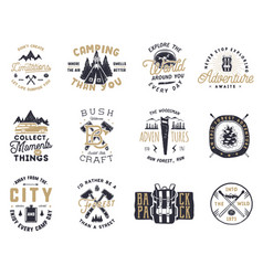 vintage hand drawn travel badge and emblem set vector image