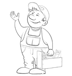 worker with a toolbox contours vector image