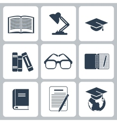 Black education icons set on white vector image vector image