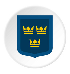 coat of arms of sweden icon circle vector image vector image
