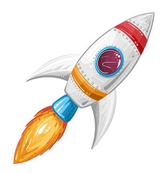 cute cartoon rocket space ship vector image