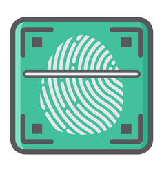 Fingerprint scanner colorful line icon id vector