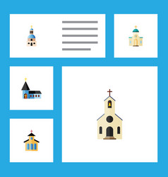flat icon building set of religious church vector image