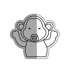 monkey cartoon drawing animal vector image