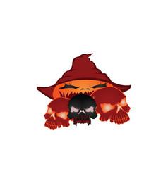 skull halloween pumpkins vector image vector image
